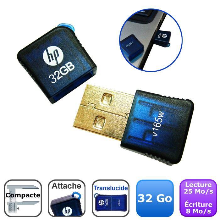Mini clé USB 2.0 HP v165w - 32 Go