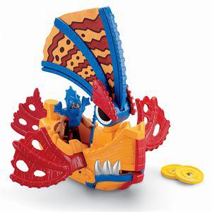 jouet Imaginext Bâteau dragon rouge et jaune + personnage
