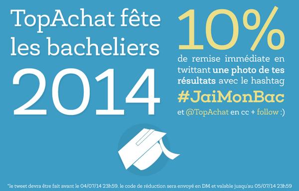 -10 % sur tout le site pour les bacheliers 2014 (Demande via Twitter )