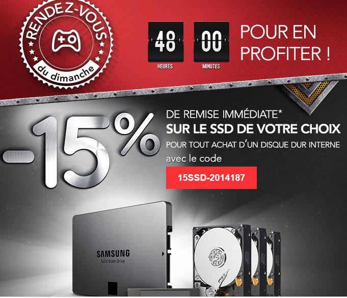 15% de réduction sur le SSD de votre choix pour tout achat d'un disque dur interne