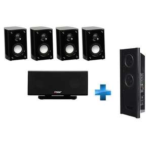 Kit 5.1 Advance Acoustic : 4 x compactes + centrale + Subwoofer mural noir