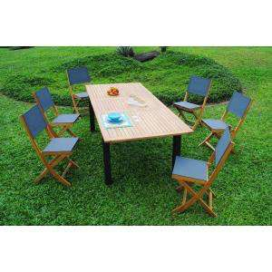 Salon de jardin en eucalyptus FSC 180-240 cm (table extensible + 6 chaises)
