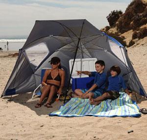 Parasol et Paravent de plage Sport-Brella, Anti UV, 240cm de diamètre