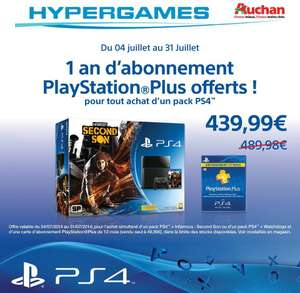 Pack Console PlayStation 4 + 1 an d'abonnement PSN + Jeu Watch Dogs OU inFAMOUS: Second Son