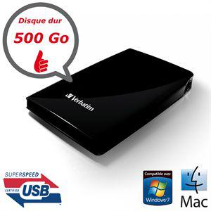 """Disque dur externe Verbatim USB Store 'n' Go 3.0 500 Go Noir 2.5"""""""