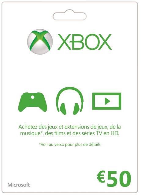 Carte Xbox Live valeur 50€