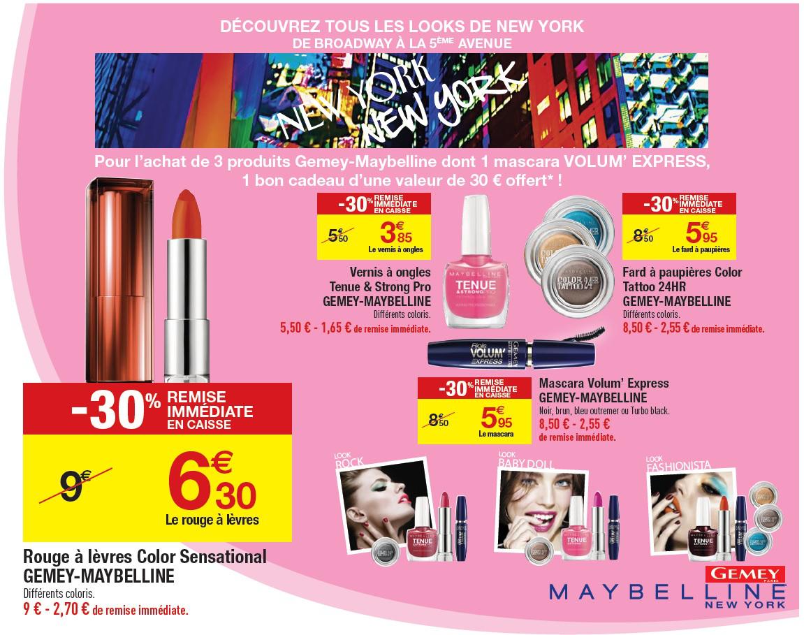 3 produits Maybelline : Mascara Volum' Express  + 2 vernis à ongles Tenue & Strong Pro (+ 30€ en bon cadeau Showroomprivé.com)