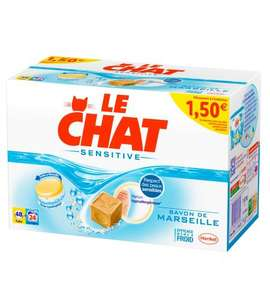1 pack de Lessive (Le Chat, Mir, X-tra) acheté = 1 pack offert - Ex : 2 boîtes 48 tablettes Le Chat Sensitive
