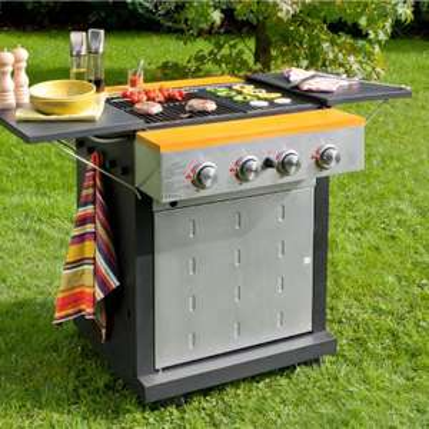 barbecue au gaz (4 brûleurs et 4 molettes de réglage de température)