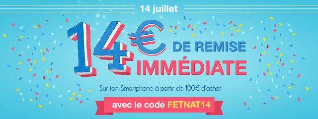 14€ de remise dès 100€ achat (via la version mobile)