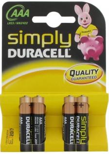 DURACELL 4 Piles AA Alcalines 1.5V 180mAh