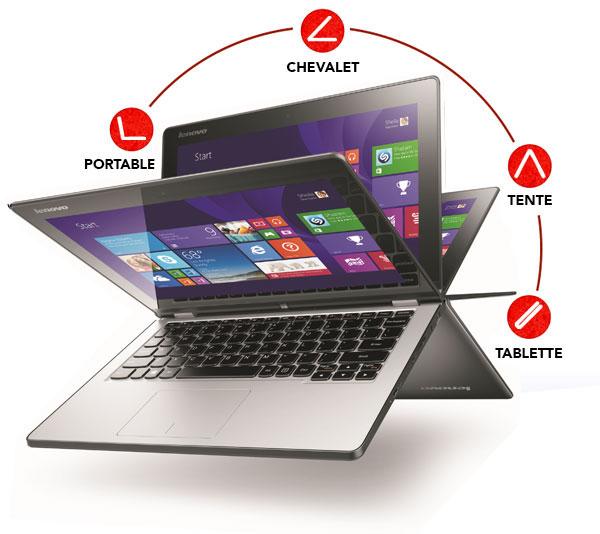 Ultra Portable Tactile Convertible 11,6'' Lenovo Yoga 2 (Intel Pentium N3520 2,1 GHz, HDD 500 Go, RAM 4 Go)
