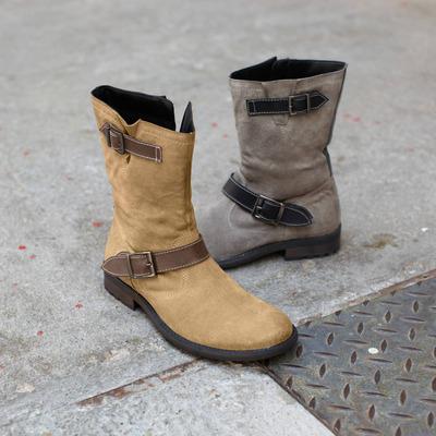 Bottes souples zippées cuir suédé (Homme) - Gris/beige