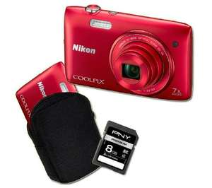 Appareil photo Nikon Coolpix S3500 - rouge + Etui + Carte SD 8 Go