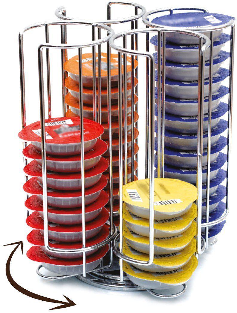 Porte Capsules Distributeur Présentoir Rotatif pour 52 capsules Tassimo Acier chromé