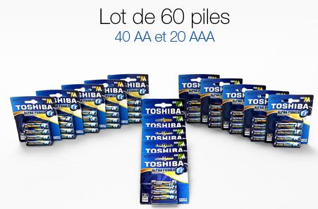 Lot de 60 piles alcalines Toshiba (40 AA + 20 AAA)