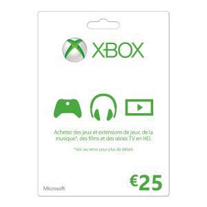 Carte Xbox Live valeur 25€ à 17.99€ et la carte de 50€