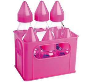 Pack de 6 biberons en verre rose dBd Remond (3 x 250 ml + 3 x 110 ml)