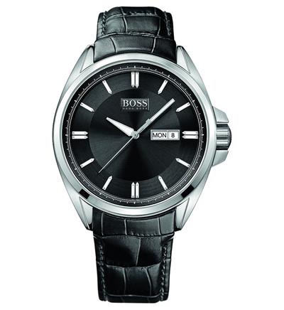 Montre Hugo Boss cuir - Noir