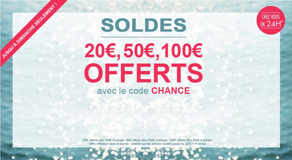 Pour 100 € d'achats -> 20 € offert (pour 200€ -> 50€ et pour 300€ -> 100€)
