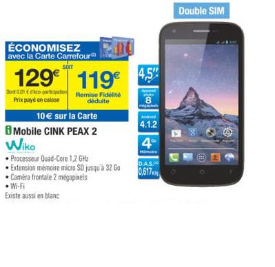 Smartphone WIKO Cink Peax 2 nu débloqué