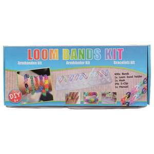 Loom band kit (support, 400 élastiques, crochet)