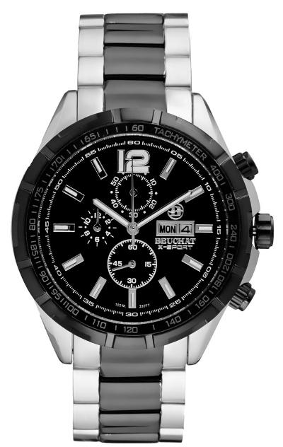 Montre à quartz chronographe en acier Beuchat X-Sport - Noir et argenté