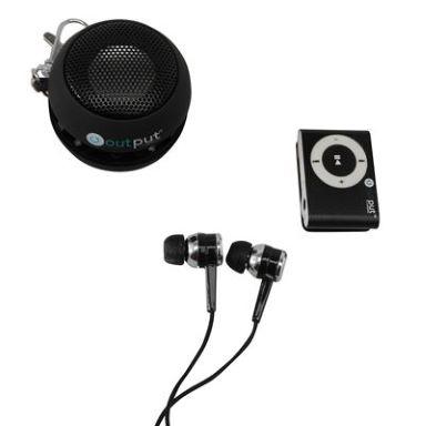 Lecteur MP3 + écouteurs + enceinte portable (rechargeable) + une carte mémoire d'1 Go
