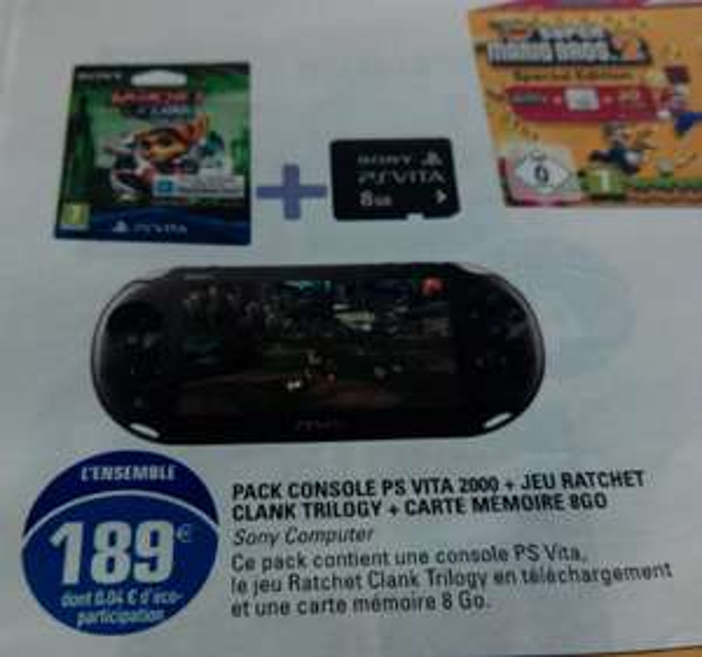 Console PS Vita 2000 + Sly Cooper Trilogy + Carte mémoire de 8Go