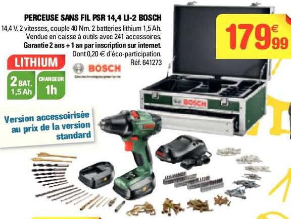 Perceuse-visseuse sans fil Bosch PSR 14.4V, 2 batteries Li-Ion + Coffret 241 accessoires
