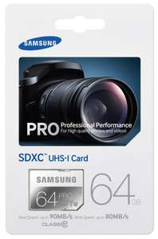 Carte mémoire Pro SDXC Samsung MB-SG64D - 64 Go, UHS-I, Grade 1, Classe 10