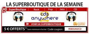 Reduc de 5€ sur Cds, FDP gratuits, boutique de CDs2AW