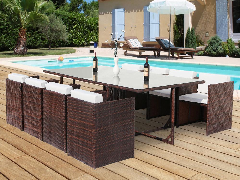 Salon de jardin résine tressée - Marron - Table et 8 Fauteuils encastrables