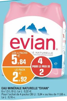 Lot de 4 packs d'eau minérale naturelle Evian