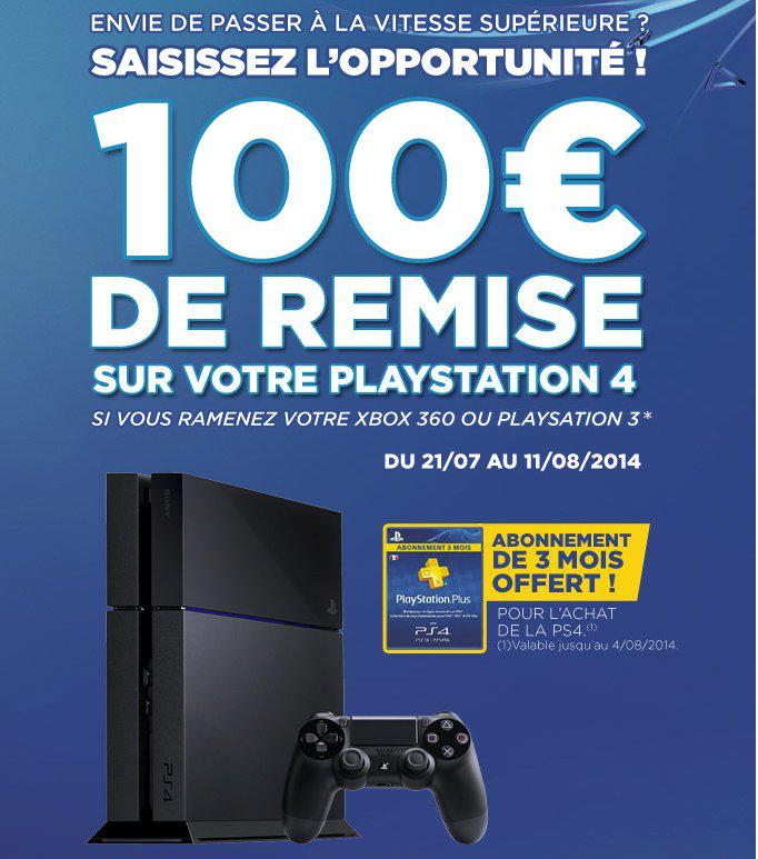 PS3 ou Xbox 360 reprise à 100€ pour l'achat simultané d'une PS4