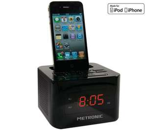 Radio Reveil Metronic Cube Noir avec Dock iPod/iPhone