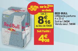 Lot de 2 packs Red Bull 4 x 25cl (50% de réduction sur le deuxième au choix)