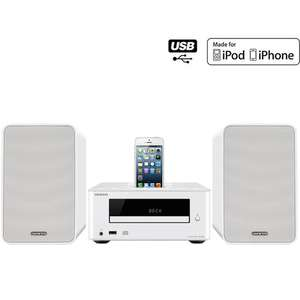Chaîne Hi-Fi CD Onkyo CS-255 - 2 x 15W - Tuner FM - Dock iPhone 5 - Port USB - Blanc