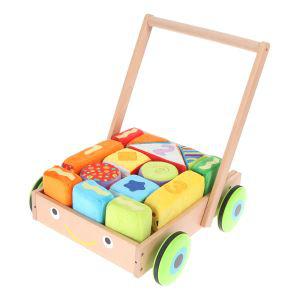 Trotteur bois Parkfield + 14 blocs colorés tissu