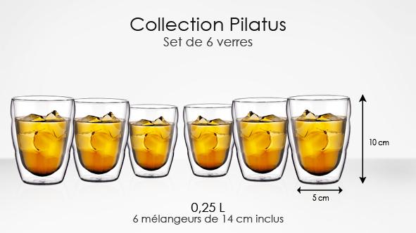 Coffret à 6 Verres Bodum Pilatus 0.25 l + 6 mélangeurs transparents bistrot 14cm