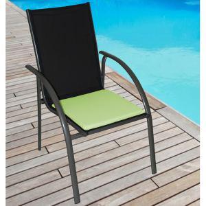 4 galettes de chaise carré (40 x 40 x 2,5 cm) - Vert anis