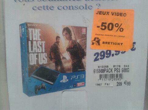 -50% de remise immédiate en caisse sur divers packs PS3 500 Go - Ex: Console PS3 500 Go + The Last of Us