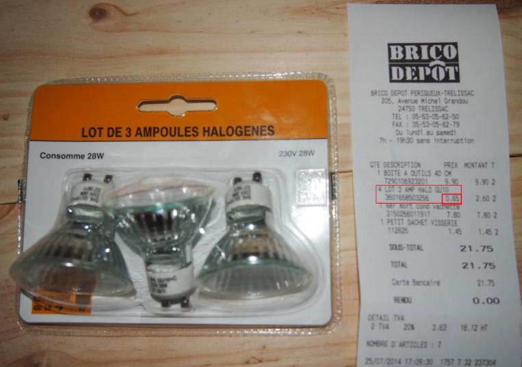 Lot de 3 ampoules Halogene Eco GU10 28W