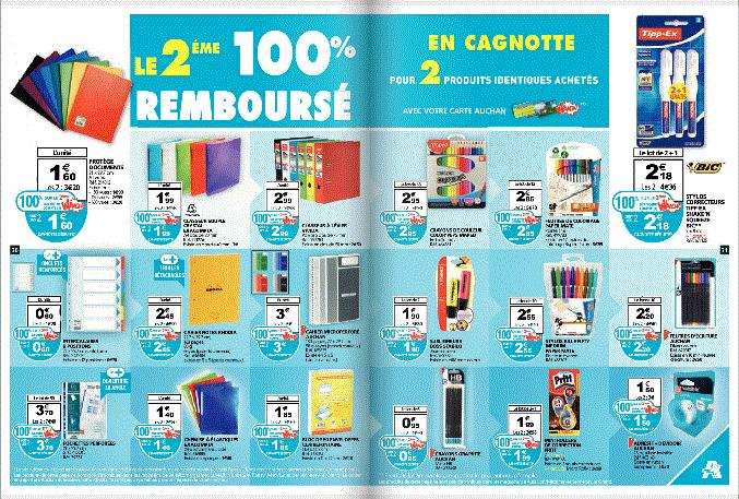 Le second produit 100% remboursé sur la carte Waooh pour deux articles identiques achetés au rayon papeterie
