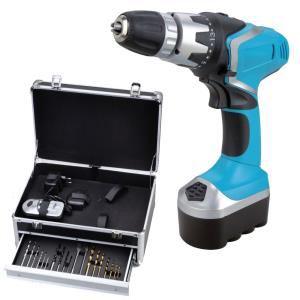 Perceuse Builder 2x18V NiCd + coffret aluminium 200 accessoires