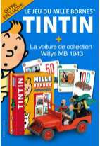 jeu 1000 bornes tintin + la voiture de collection tintin willys MB 1943