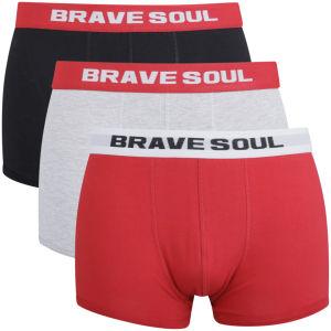 Pack de 3 boxers Brave Soul Mens - Noir/Gris/Rouge