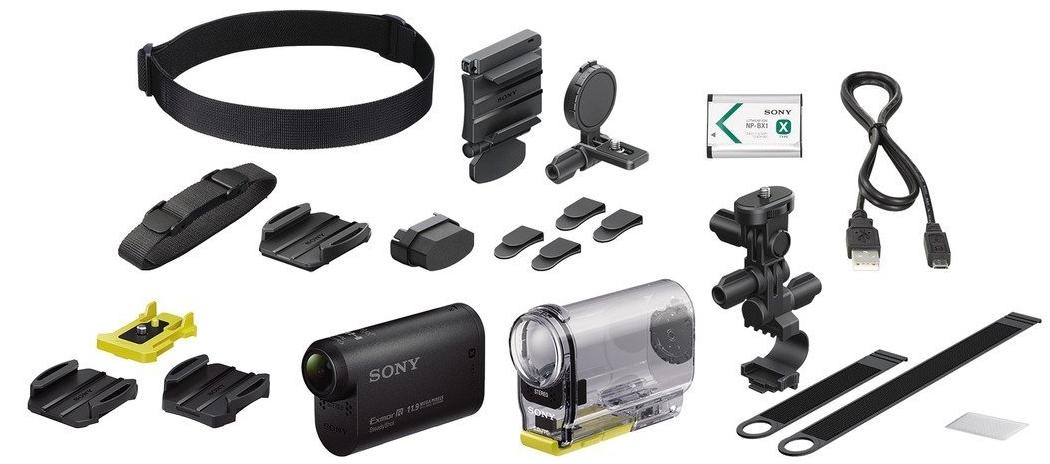 Action cam Sony AS30V + Kit vélo avec fixation guidon / bandeau universel / Filtres anti-buée Noir