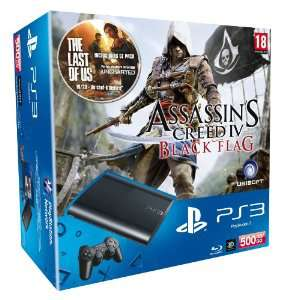Pack Console PS3 500Go Noire + Assassin's Creed 4 : Black Flag + The Last of Us