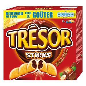 Lot de 2 boîtes de Trésor sticks chocolat noisettes ou chocolat au lait